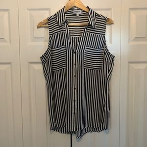Black and White Stripe Tank Top with Collar